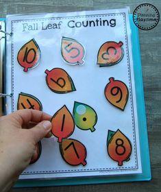 Fun Fall Interactive Math Binder for Preschool - Crafts for Kids Preschool Binder, Math Binder, Fall Preschool Activities, Preschool Lesson Plans, Preschool Classroom, Kindergarten Math, Preschool Prep, Thanksgiving Activities, Montessori