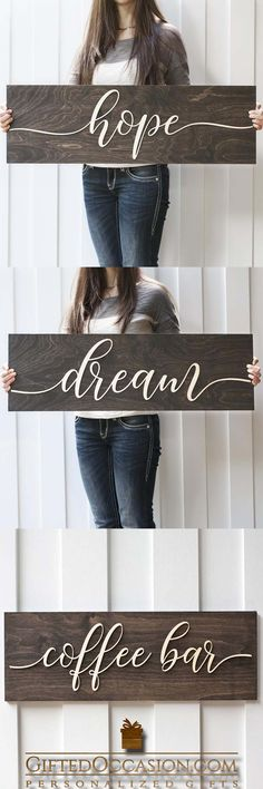 The Letters On This Sign are 3D not painted like other signs but cut out of wood and then Mounted to the background giving the letters a 3D effect. They really stand out! giftedoccasion.com #gift #gifts #wedding #weddinggift #woodengift #woodensign #board #sign