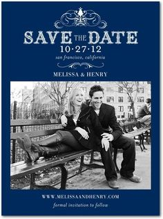 Signature White Photo Save the Date Cards  Haute Heraldry : Navy