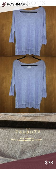 Talbots Azure Blue 3/4 Sleeve Boat Neck Linen Tee This easy peasy, lightweight linen t-shirt from Talbots speaks for itself! Simple boat neckline, 3/4 length sleeves and beautiful solid azure blue hue make this tee a staple for any closet! Hemline is slightly higher in front than in the back. EUC ONLY WORN A COUPLE TIMES - SIZE LARGE - 100% LINEN Talbots Tops Tees - Long Sleeve