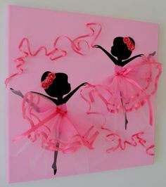 Dancing Ballerinas in Pink Tutus. Girls room wall art. by FlorasShop on Etsy
