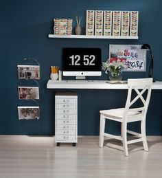 To create home office happiness, start with the basics. Install a top track then add 3 hanging wall bands. Within minutes, you have strong functional shelves. Available at Howards Storage Home Office, Office Desk, Office Style, Howard Storage, Shelving Solutions, Set Of Drawers, Thing 1, Style Guides, Corner Desk