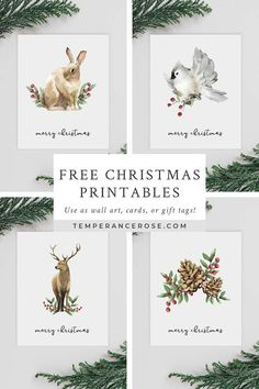 Gorgeous free Christmas printables for your holiday decorating! Featuring watercolor animals and winter motifs.Gorgeous free Christmas printables with watercolour woodland animals. Designed as wall art, you can also use them as greeting cards or gift tags Noel Christmas, All Things Christmas, Vintage Christmas, Christmas Crafts, Christmas Animals, Christmas Cookies, Christmas Ideas, French Christmas, Christmas Wall Art