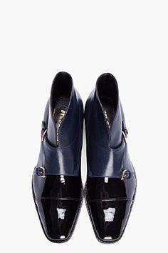 Jil Sander ~ Black & Navy Patent Leather Monk Boots