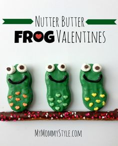"""nutter butter frog valentines Could use the tag """"I'd jump at the chance to be your Valentine"""""""
