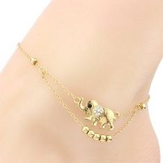 SHARE & Get it FREE | Trendy Rhinestone Elephant Beads Charm Layered Anklet…