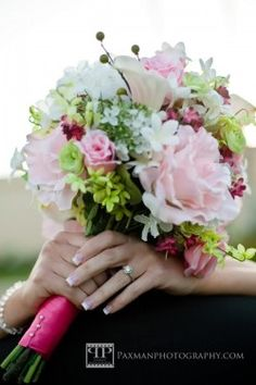 Pale Pink with Green Accents Bridal Bouquet.  LDS weddings, photo by Paxman photography, for WeddingLDS.com