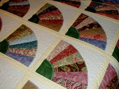 Queen Size Bed Quilt Grandmother's Fan Pattern Reserved For Erica