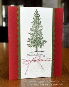 It seems like it's a long time until Christmas...but not if you make your own Christmas cards. This is a simple design using a stamp set that has been around a loooong time...Lovely As A Tree.  I used