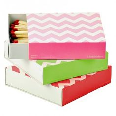 SPECKLEFARM STATIONERY  Set of 3 Hot Pink, Lime & Red Chevron Match Boxes