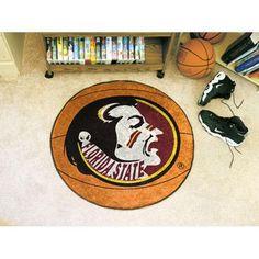 "Florida State Seminoles NCAA Basketball"" Round Floor Mat (29"") Seminole Logo"""