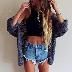 @barbphythian || Summer outfits | black croptop Blue denim shorts Blue/grey ish Cardigan