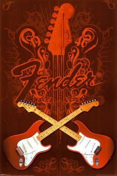Fender Guitars Crossed Poster