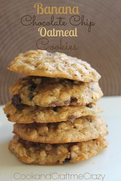 Cook and Craft Me Crazy: Banana Chocolate Chip Oatmeal Cookies. Added coconut, chia seeds and brewers yeast for lactation cookies