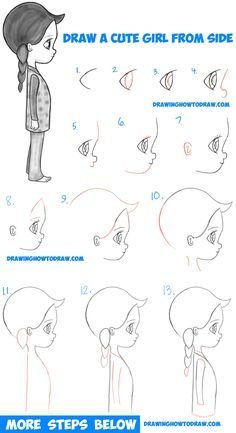 How to draw a cute chibi / manga / anime girl from side view Easy Step by S . How to draw a cute chibi / manga / anime girl from the side view Easy Step by St… - architecture and art The Effective Pictures We Offer You About Architecture drawing begin Drawing Lessons, Drawing Techniques, Art Lessons, Chibi Manga, Manga Anime Girl, Anime Girls, Anime Art, Anime Eyes, Step By Step Sketches
