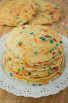 Funfetti Pancakes. Absolutely adorable colorful funfetti pancakes that are made with buttermilk to achieve a great fluffy pancake.