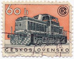 1964 Czechoslovakian Stamp - Train - Features a really sweet engraving of a locomotive from a company called ČKD which was a huge engineering company in Czechoslovakia, which was then nationalized after WWII. Hudeček and Jindra S. Stamp World, Rail Transport, Trains, Love Stamps, Great Logos, Vintage Stamps, Stamp Collecting, Locomotive, History