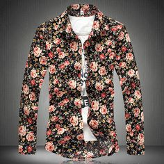 Rose Floral Pattern Casual Men's Long Sleeved Shirt