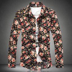 Rose Floral Pattern Casual Men's Long Sleeved Shirt