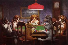 """""""A Friend in Need"""" (aka 'Dogs Playing Poker') by C.M. Coolidge."""