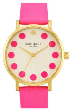 kate+spade+new+york+'metro'+dot+dial+leather+strap+watch,+34mm+available+at+#Nordstrom