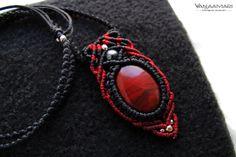 Red jasper macrame warrior bohemian pendant