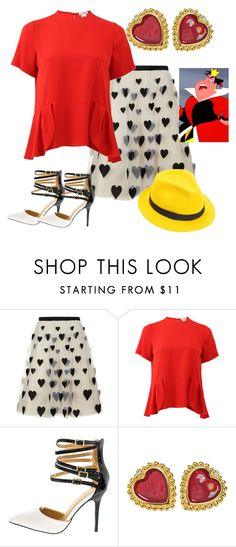 """""""Modern day queen of hearts """" by awesome-sparkle-girl ❤ liked on Polyvore featuring Alice + Olivia, Oscar de la Renta, Mademoiselle Slassi and modern"""