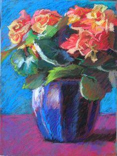 "Blue Pot, Oange Begonia, 9x12"", pastel on panel, Jeffrey Smith #FlowerShop"
