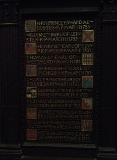 List of knights of Saint Patrick,  St Patrick Cathedral, Dublin.