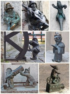 Gnomes of Wroclaw Poland - a few of 70 such statues scattered around Wroclaw, Poland, in homage to the Orange Alternative anti-Communist movement of the 1980s.