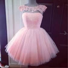 2015 Hot sale cute backless cap sleeves pink lace chiffon short junior prom…