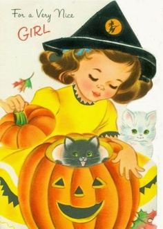 girl with cats pumpkin halloween