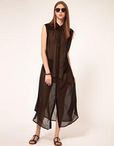 Peoples Market Sheer Oversized Shirt Dress