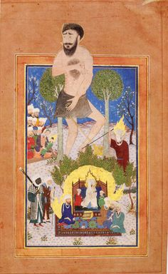 The giant 'Uj and the prophets Moses, Jesus and Muhammad Possibly from the Qisas al-Anbiya' (stories of the prophets) Iraq (Baghdad) or Iran (Tabriz), early 15th century Opaque watercolour and gold on paper 'Uj (the Old Testament Og) was the giant king of Bashan who lived for 3000 years. Moses smote him on the heel, after which the giant's fallen body served as a bridge over the Nile. In the foreground is the Prophet Muhammad with his face veiled. In background are Mary and the infant Jesus.