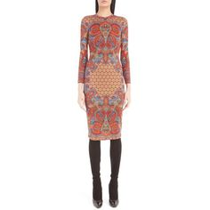 Women's Givenchy Scarf Motif Crewneck Jersey Body-Con Dress ($1,520) ❤ liked on Polyvore featuring dresses, red multi, j.crew cocktail dresses, red body con dress, red jersey dress, red dress and red print dress