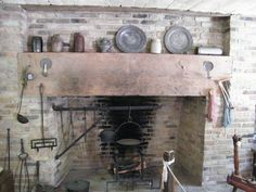unrefined decor of the late 1800's | Miller cabin fireplace. Meadowcroft village west of Avella, Washington ...