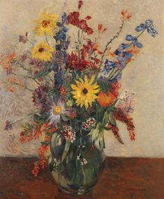 James Bolivar Manson - Still life of summer flowers in a glass jug on a table top Painting Still Life, Still Life Art, Tate Gallery, Glass Jug, True Art, Summer Flowers, Artist At Work, Impressionist, Flower Art