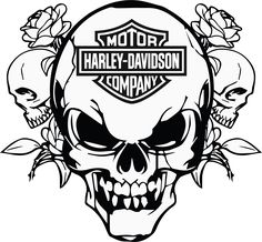 Résultat d'images pour Harley-Davidson Stencil Patterns Free Printable Harley Davidson Decals, Harley Davidson Kunst, Harley Davidson Signs, Harley Davidson Images, Skull Stencil, Stencil Art, Skull Art, Paint Stencils, Free Stencils