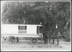 ~Denver's first school bus~ circa 1900 Photograph of the first school bus in Denver, Colorado. The driver sits on his horse drawn wagon outside of Bromwell Elementary School in Denver, Colorado. Western History/Genealogy Dept., Denver Public Library.