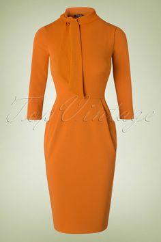 50s Brianna Tie Neck Pencil Dress in Cognac
