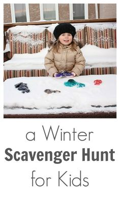 This winter scavenger hunt for kids uses colored ice sculptures. Freeze in fun shapes then hide them around the yard for the kids to find!
