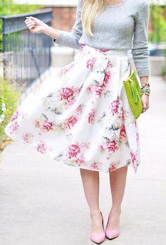 Idea para hacer una linda falda floreada con tablones y lazo ✿⊱╮