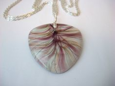 Purple and Gold Glass Pendant Necklace on Two Silver Plated Chains by KristasJewellery, $18.00