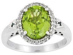 Vintage Ring Peridot White Topaz  Blue Diamond Accents Sterling Silver on Etsy, $185.00