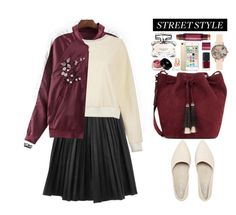 """Yoins Street Style"" by beebeely-look ❤ liked on Polyvore featuring Loeffler Randall, Olivia Burton, Gucci, Wander Beauty, NARS Cosmetics, Edward Bess, tarte, StreetStyle, pleatedskirt and streetwear"