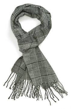 $28, White and Black Houndstooth Scarf: Topman Houndstooth Plaid Scarf Black One Size. Sold by Nordstrom. Click for more info: http://lookastic.com/men/shop_items/125198/redirect