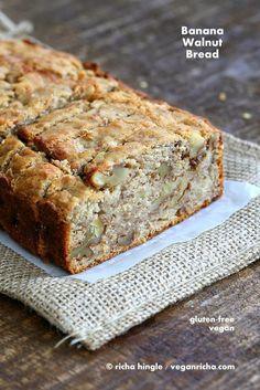 Banana Walnut Breakfast Loaf. Gluten free Banana Bread Vegan Gum-free Recipe - Vegan Richa