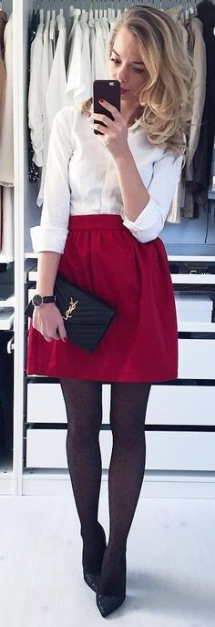 #winter #fashion / White Shirt / Red Skirt / Black Tights / Black Leather Clutch / Black Pumps