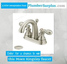 Kick off a bathroom remodel in style! Win a Moen Kingsley faucet in a Brushed Nickel finish (approx. value $339.70) from PlumberSurplus.com