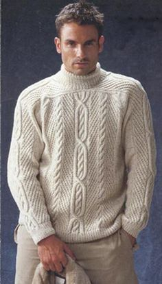 Knitting of the Irish pullover from top to down. Hand Knitted Sweaters, Wool Sweaters, Camisa China, Handgestrickte Pullover, Slim Fit Trousers, Mens Jumpers, Mens Sweatshirts, Hand Knitting, Knitwear